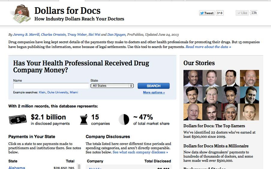 ProPublica Dollars for Docs